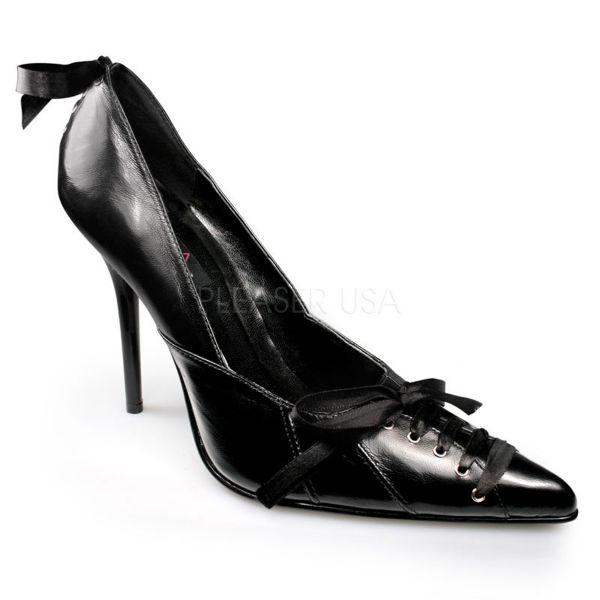 MILAN-07 schwarz Leder     Schwarzer Leder Pumps spitze Form mit Zierschnürung